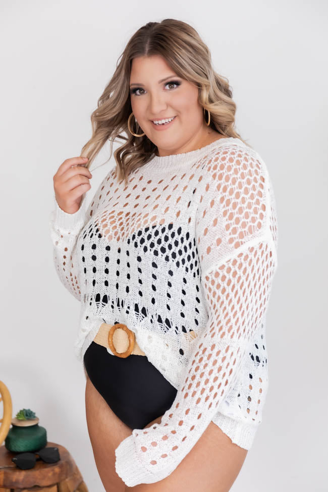 CAITLIN COVINGTON X PINK LILY The Ocean Isle Open Knit Cream Sweater