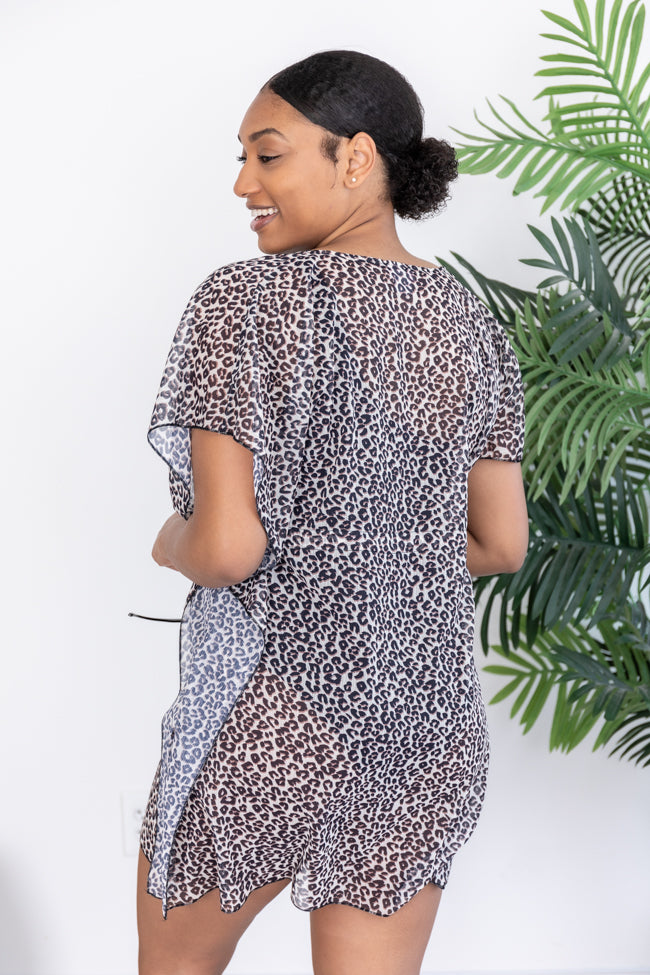 Your Turn To Shine Animal Print Grey Coverup