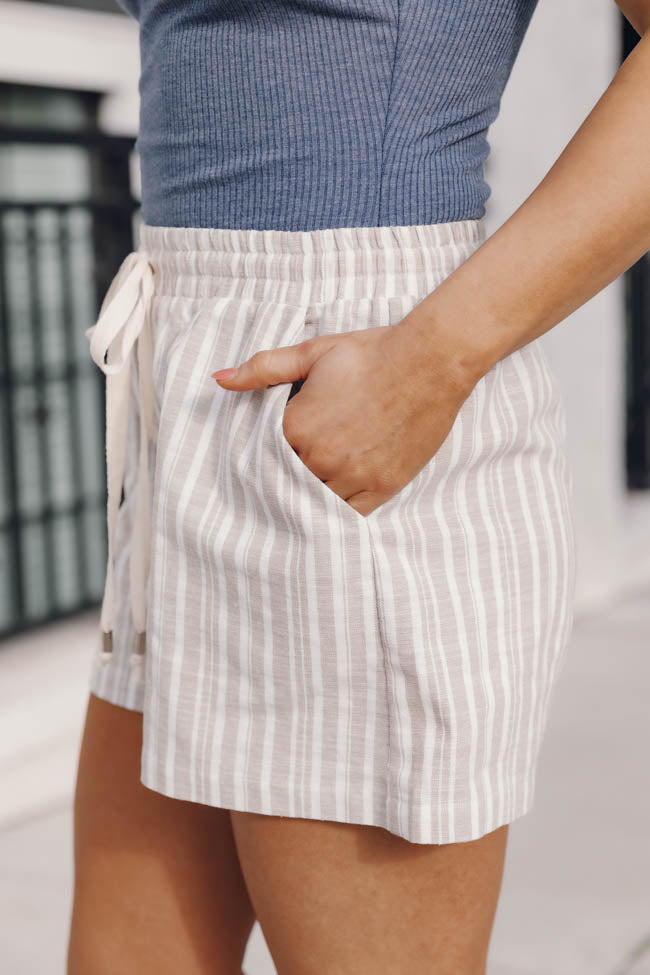 Talking About Forever White/Taupe Stripe Shorts