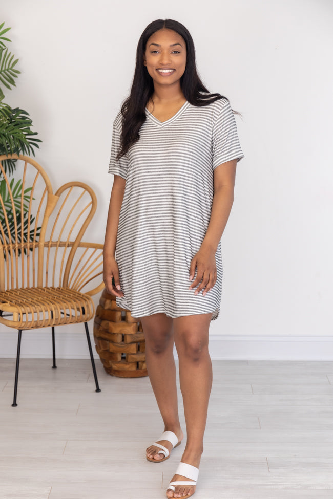 When You're Ready White/Grey Striped T-Shirt Dress