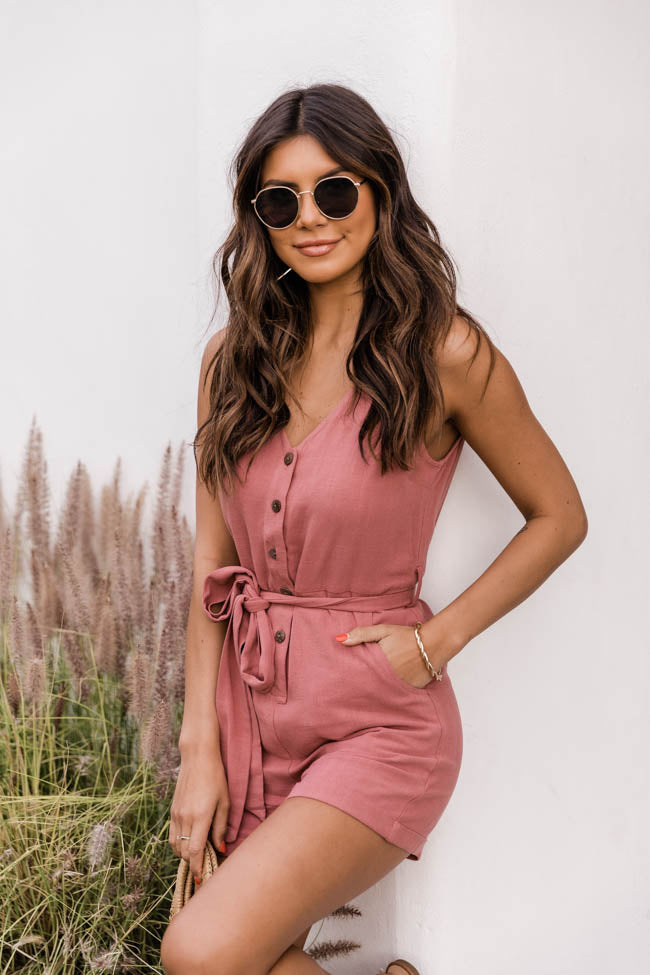 Ready To Roll Button Front Tie Waist Rose Romper