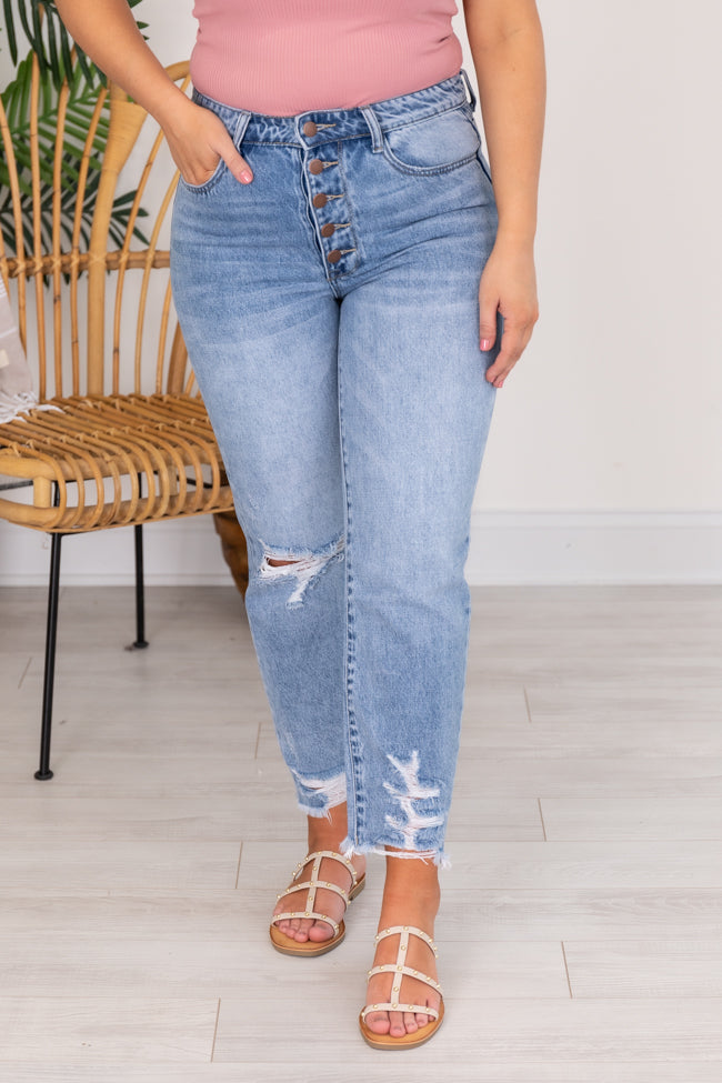 Lucy Distressed Girlfriend Medium Wash Jeans