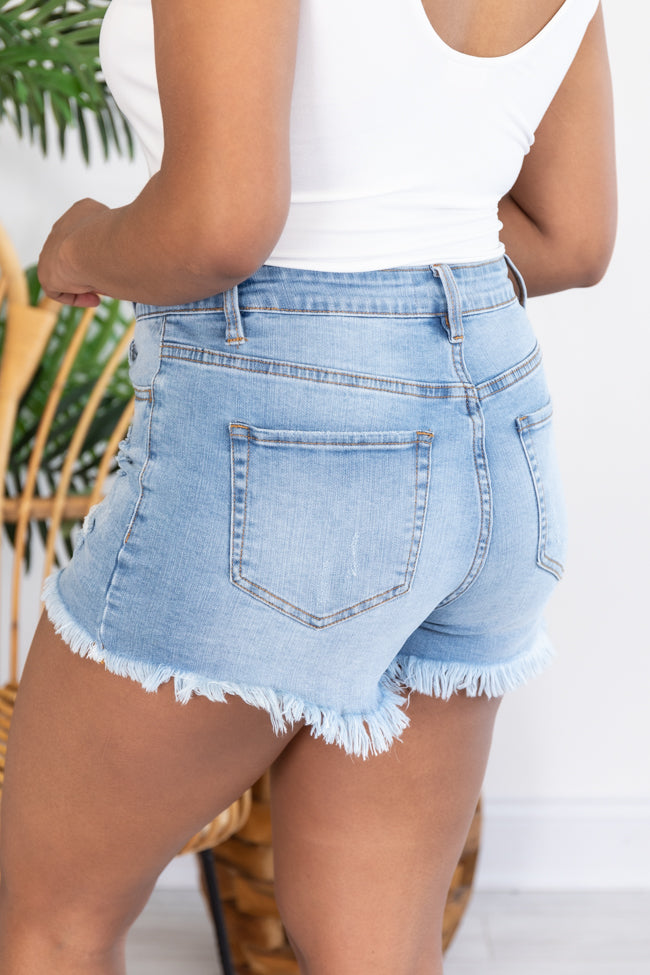 Someday Maybe Distressed Denim Light Wash Shorts