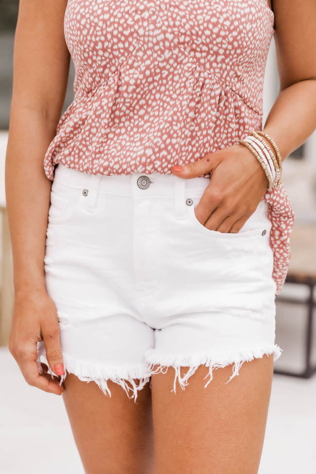 Small Town Dreams High Rise Raw Hem White Shorts