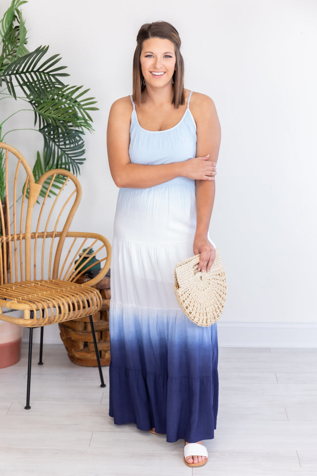 Down The West Coast Dip Dye Blue Maxi Dress