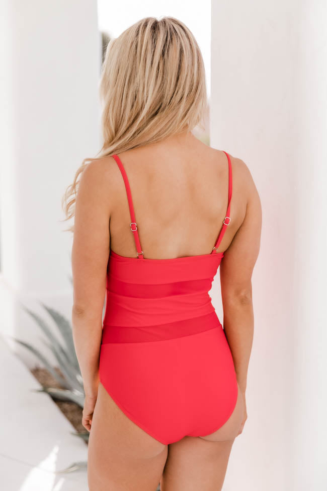 Ocean Oasis Mesh Red Swimsuit