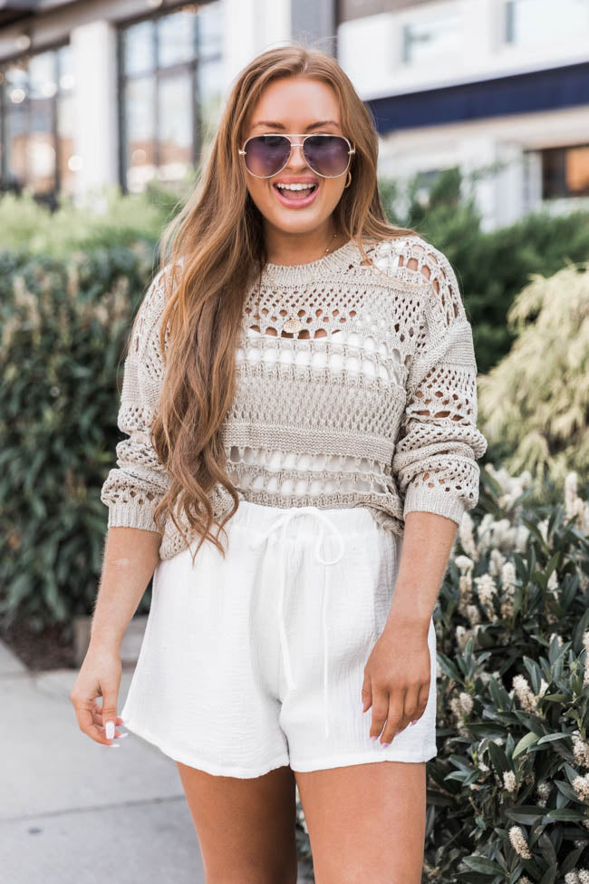 Thanks To You Open Knit Taupe Sweater