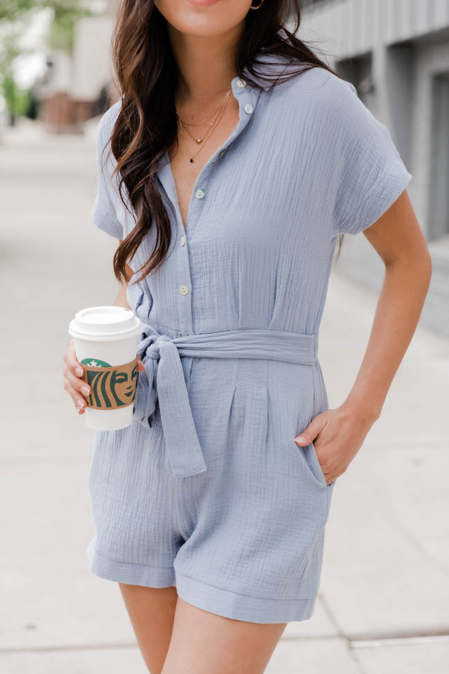 Take Notes Collared Blue Romper