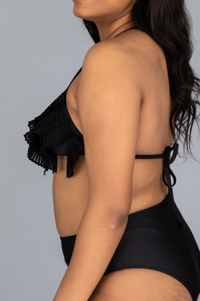 CAITLIN COVINGTON X PINK LILY The Ravello Textured Black Bikini Top