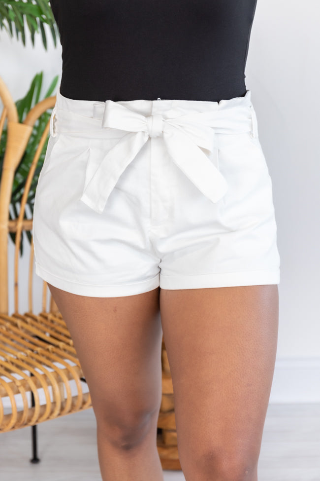 Every Opportunity Paperbag Belted White Shorts