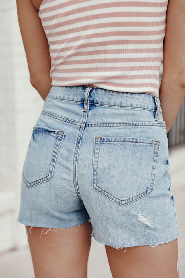 Follow The Light Distressed Button Front Light Wash Shorts