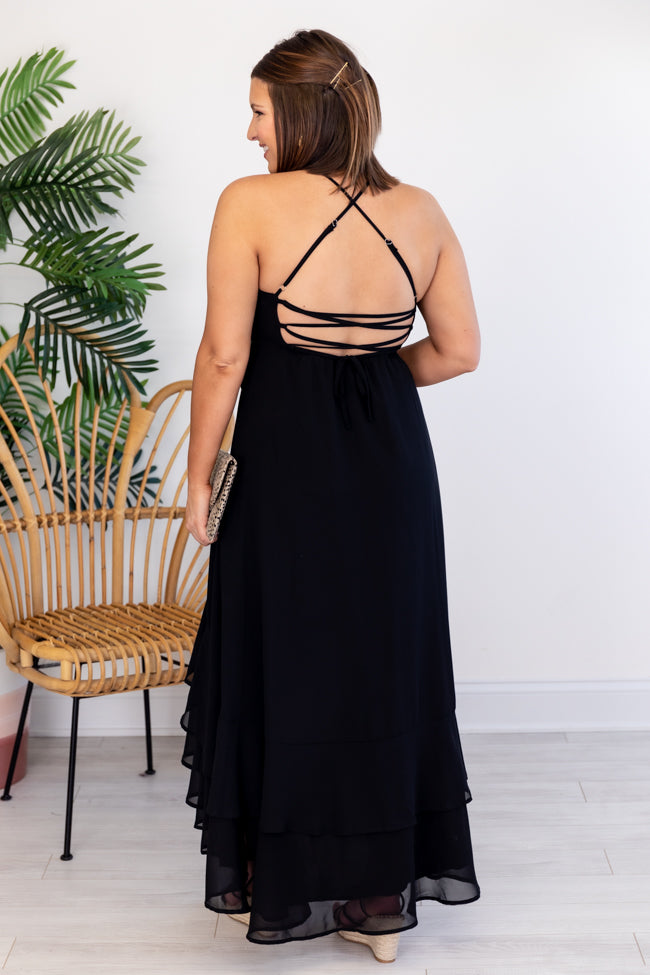 Dancing At Midnight Side Slit Lace Up Black Maxi