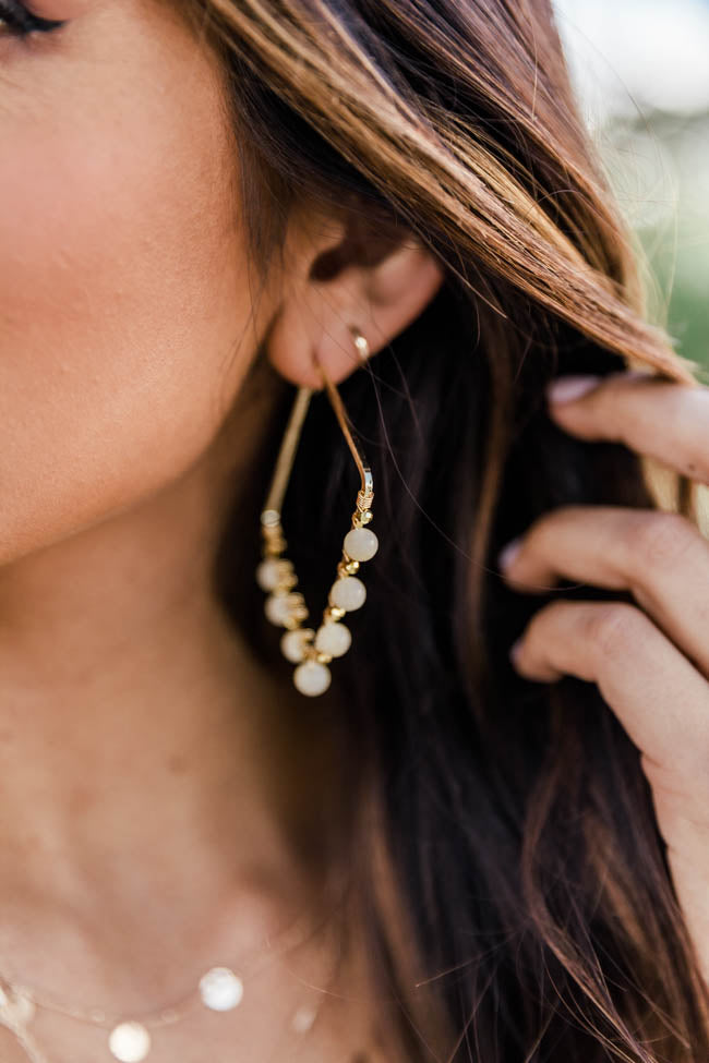 Uptown Party Cream Beaded Earrings