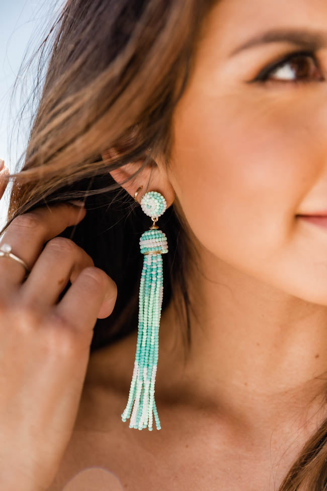 She's A Showstopper Mint/White Beaded Tassel Earrings