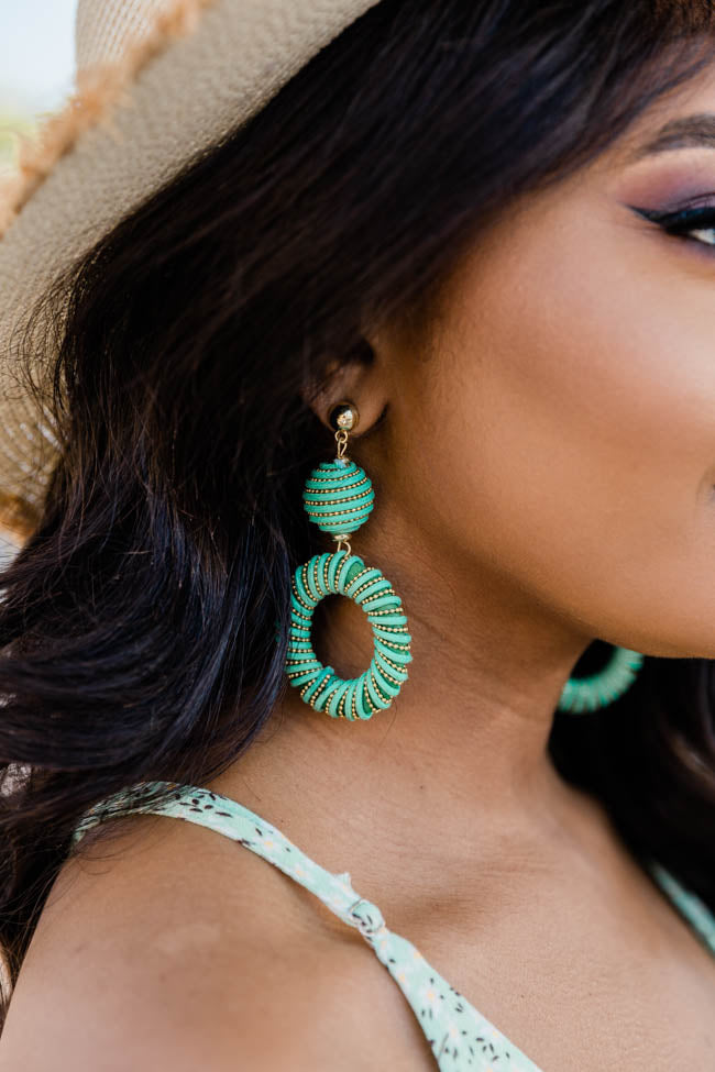 Unstoppable Goals Mint Circle Earrings