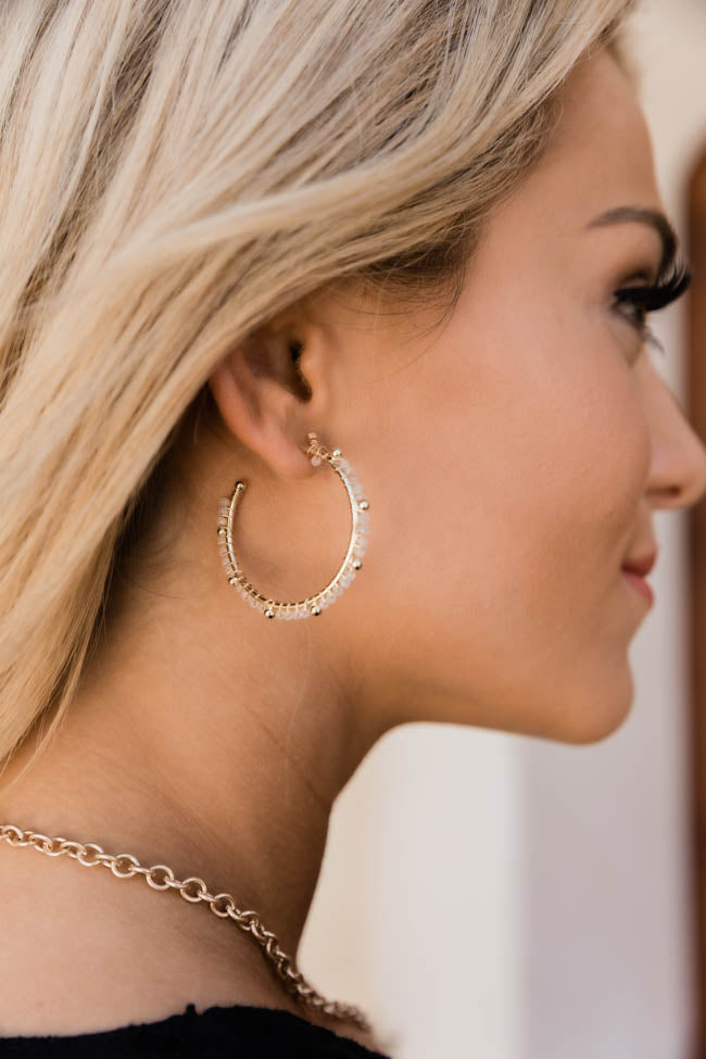 Our Golden Memory White/Gold Beaded Hooped Earrings