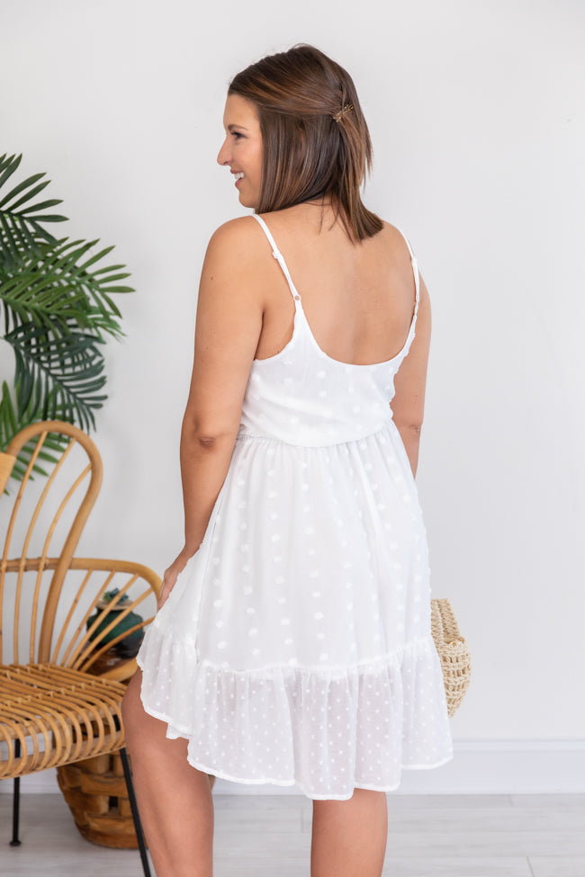 Authentic Self Swiss Dot Belted White Dress