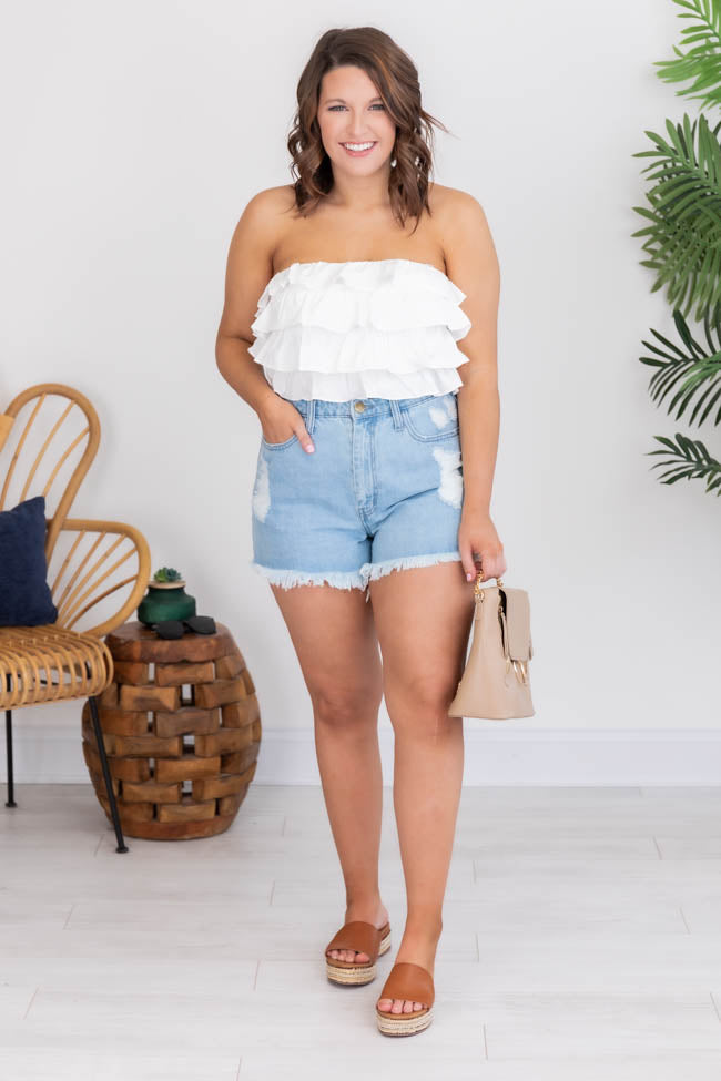 CAITLIN COVINGTON X PINK LILY The Honolulu Ruffle White Tube Top
