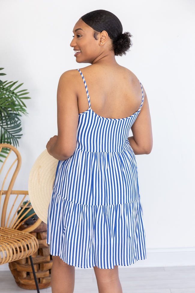Convincing Your Heart Striped Babydoll Blue Dress