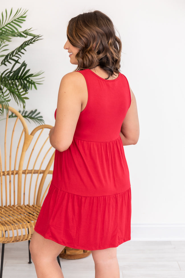 Endless Ideas Red Babydoll Knit Tank Dress