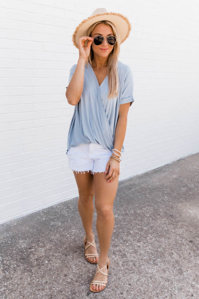Wrapped Up In You Light Blue Blouse