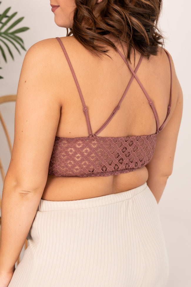 So This Is Love Dark Mauve Lace Bralette