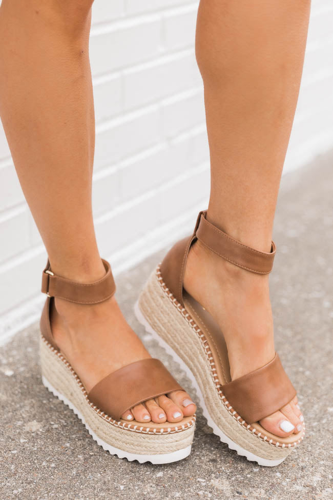 Lennon Leather And Jute Platform Tan Wedges
