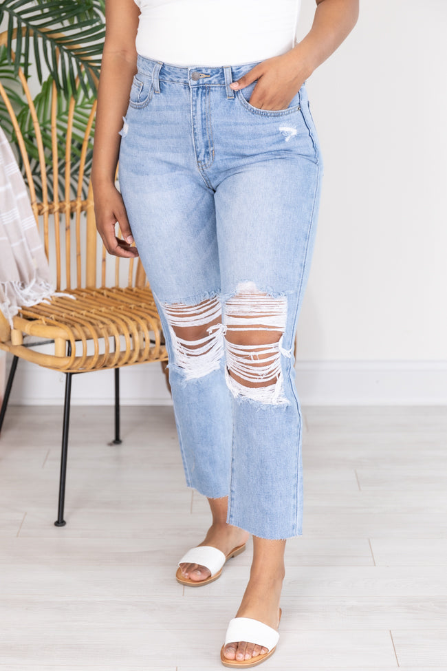 Gina High Rise Distressed Light Wash Mom Jeans