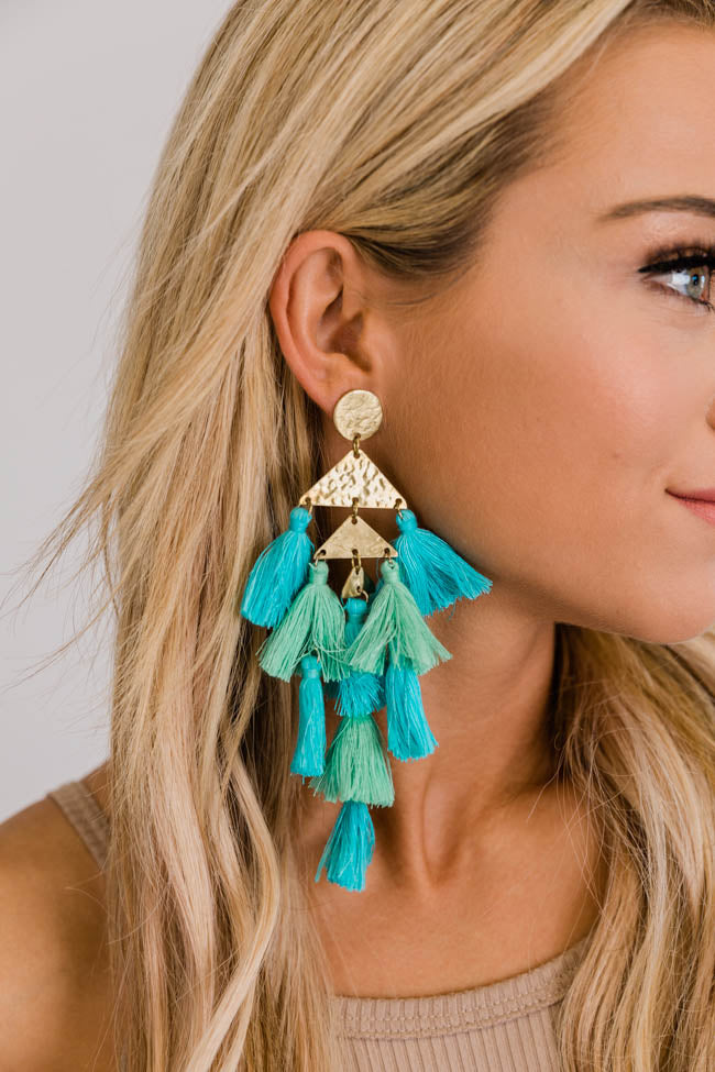 Under The City Light Blue Tassel Earrings
