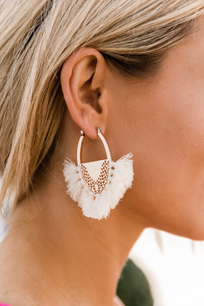 Fondest Memory Oval Tassel Earrings Ivory