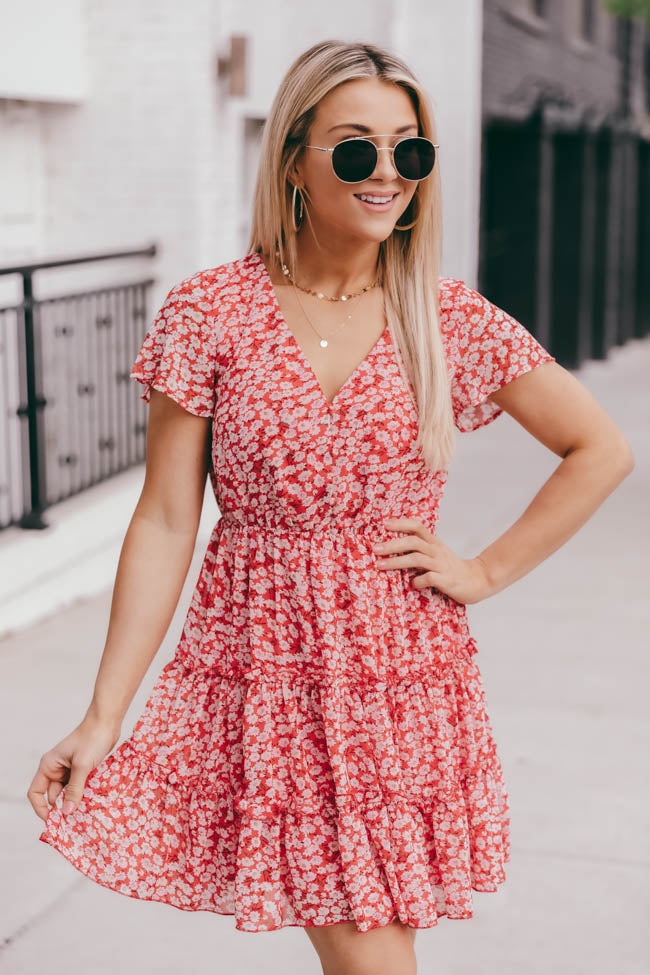 Fields of Daisies Floral Short Sleeve Red Mini Dress