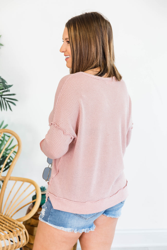 My Own Reality Long Sleeve V-Neck Pink Blouse