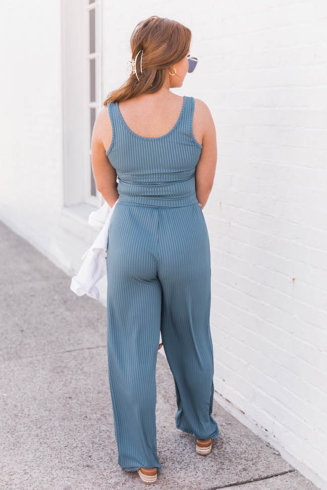 Different Opinions Ribbed Blue Pants