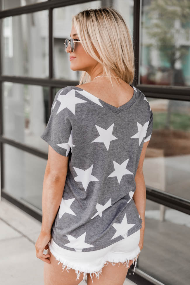 Above The Rest Star V-Neck Grey Blouse