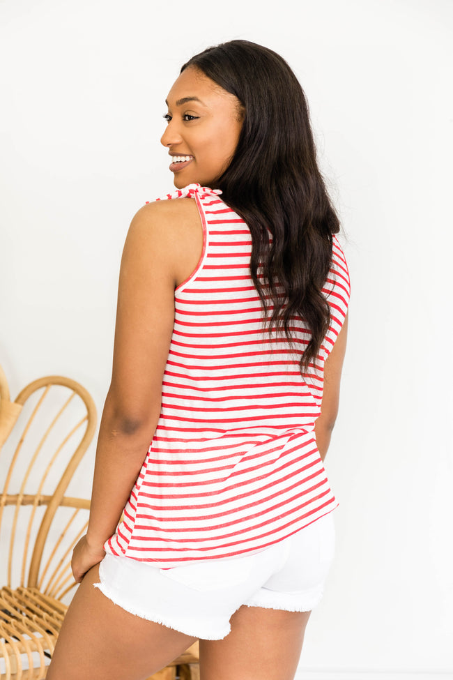 Just imagine This Red Striped Tie Sleeve Tank