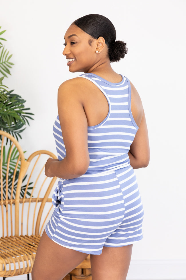Justify Your Meaning Blue Striped Knit Romper