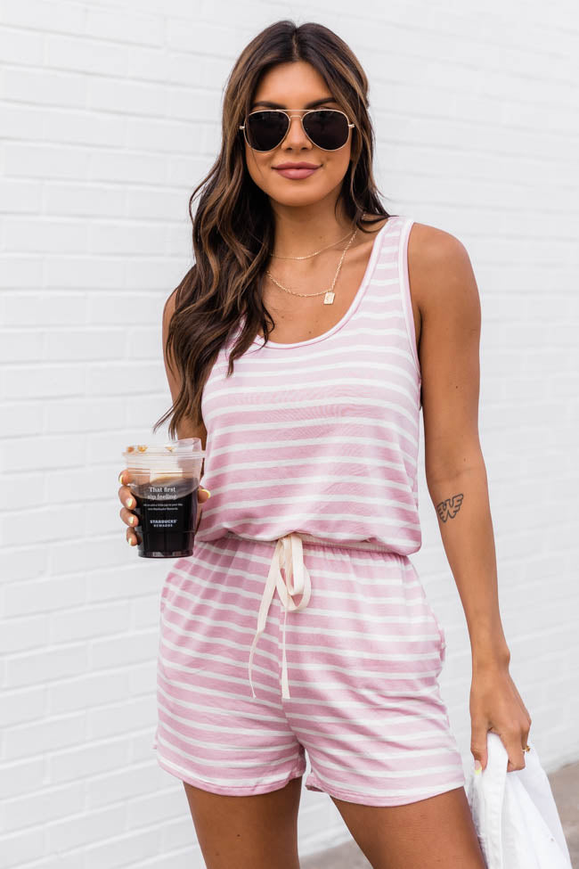 Justify Your Meaning Pink Striped Knit Romper