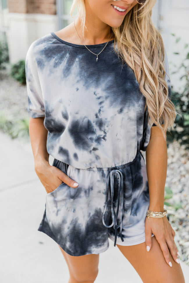 Midnight Talks Tie Dye Charcoal Romper FINAL SALE
