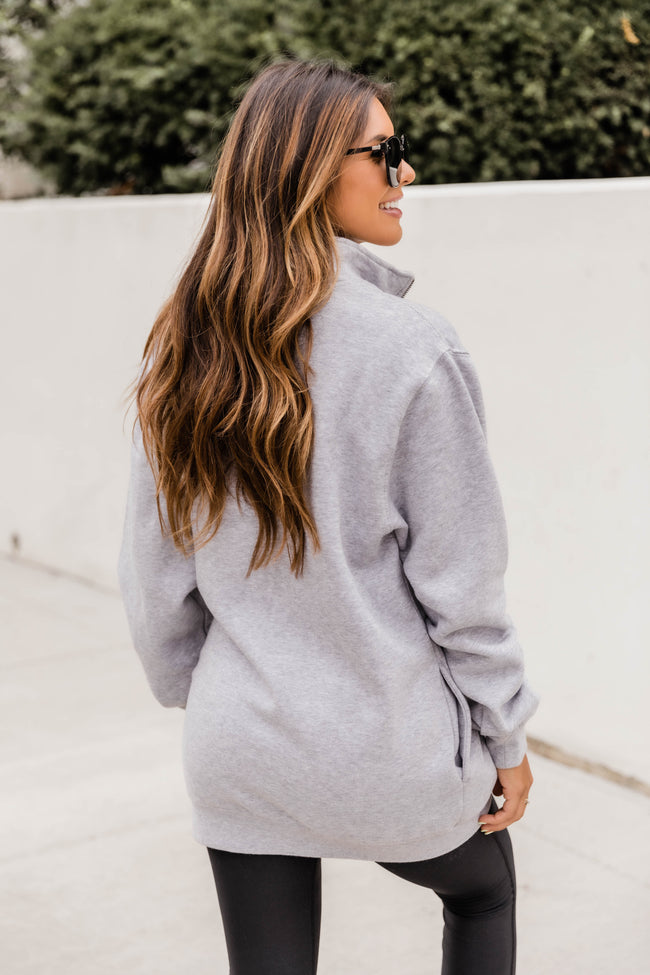 Monogrammed Heather Grey Crosswind Quarter Zip Sweatshirt