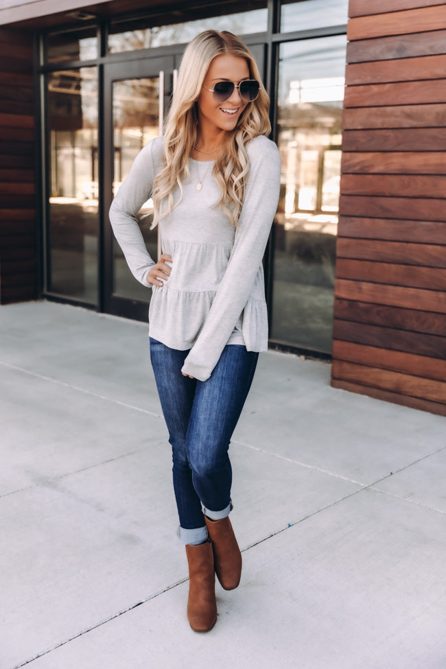 Layered In Tiers Grey Blouse