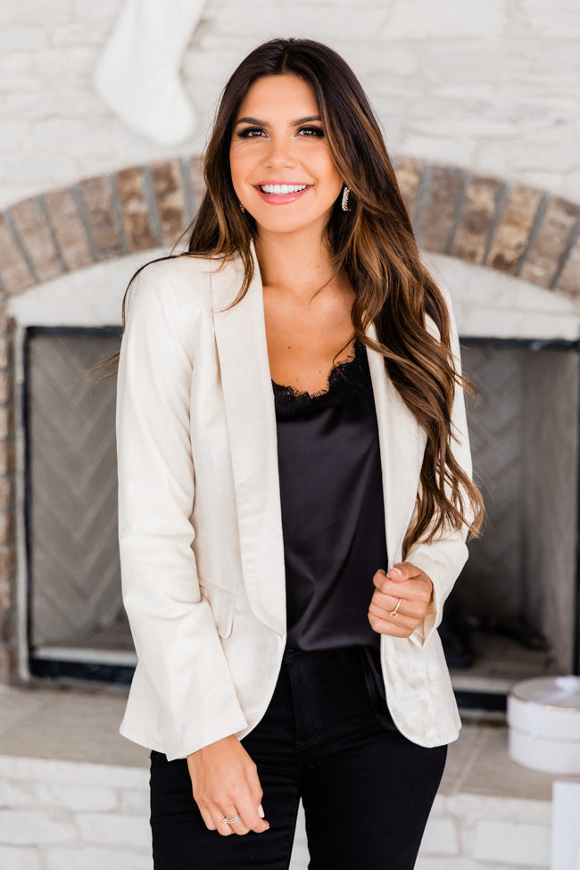 Fashionista Dreams Velvet Cream Blazer