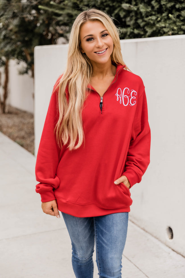 Monogrammed Red Crosswind Quarter Zip Sweatshirt