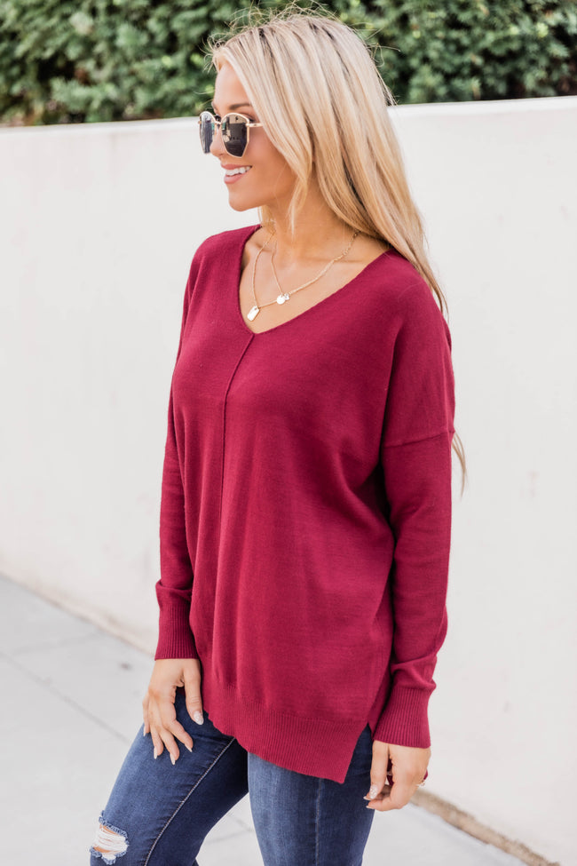 Something On Your Mind Burgundy Sweater