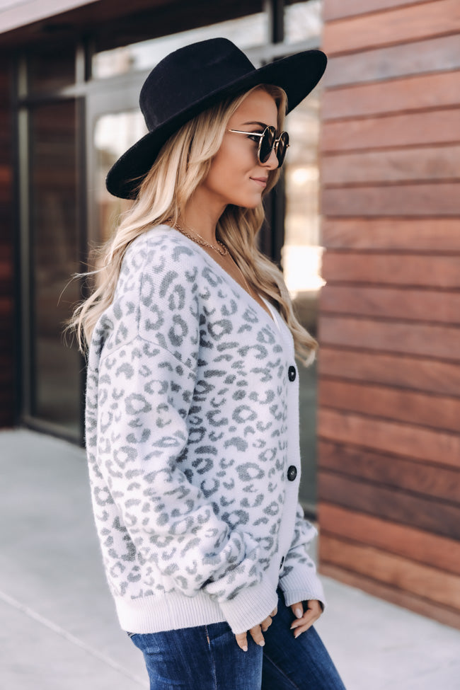 Moment Of Peace Animal Print Grey Cardigan