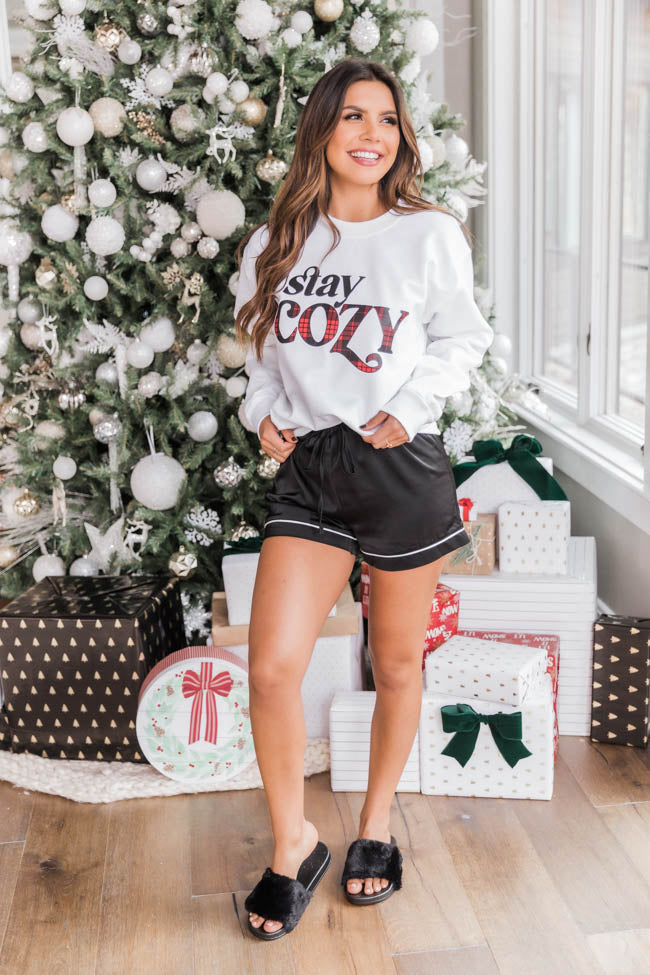 Stay Cozy Plaid Graphic White Sweatshirt