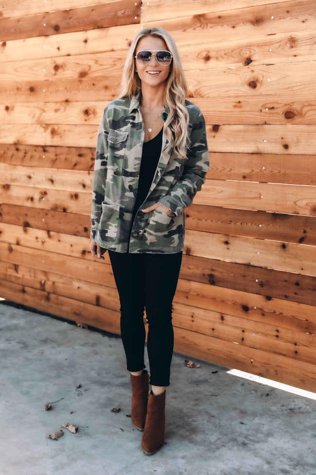 Never Without Your Love Camo Print Jacket