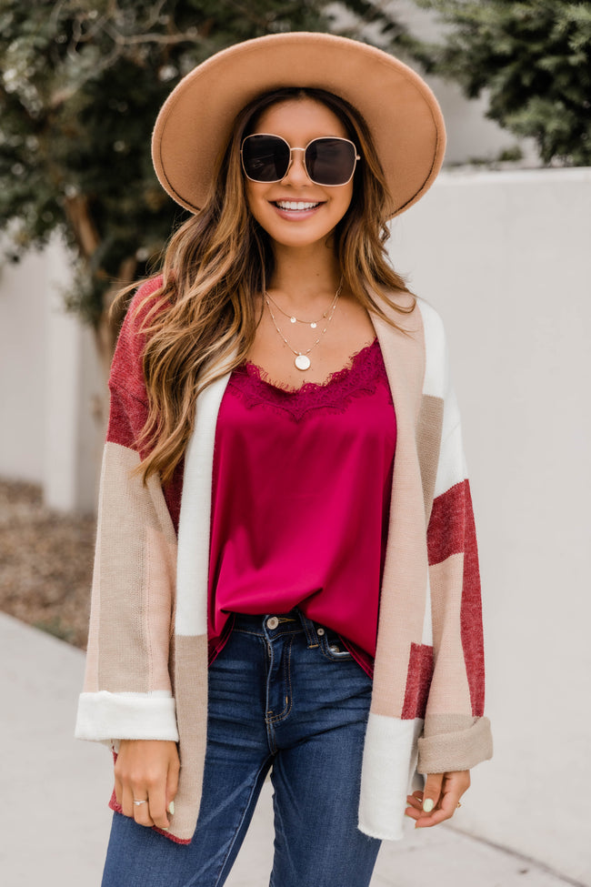 Believe In Love Burgundy Colorblock Cardigan CLEARANCE