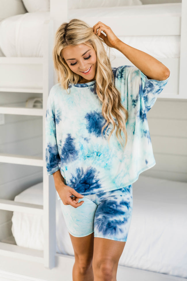 Finding Hope Tie Dye Blouse Mint/Navy