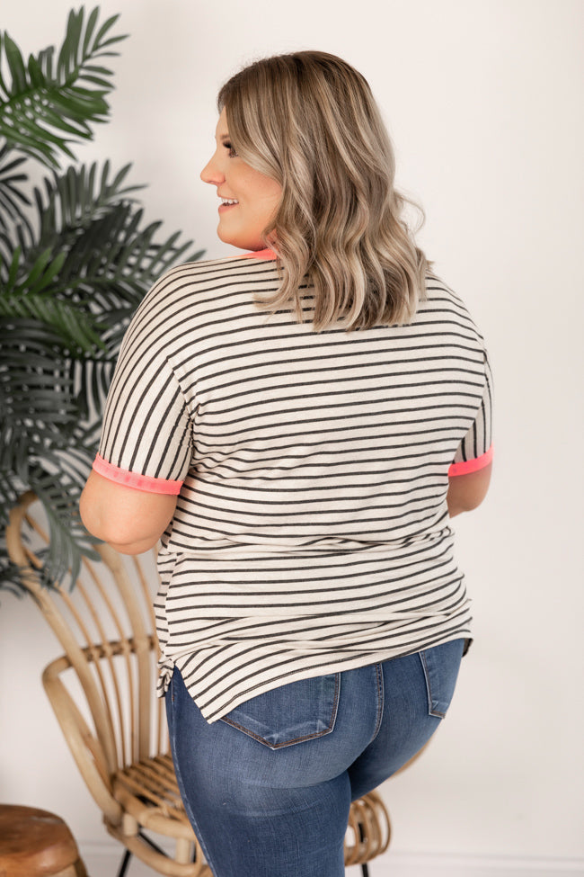 You Make It Easy Pink Striped Blouse