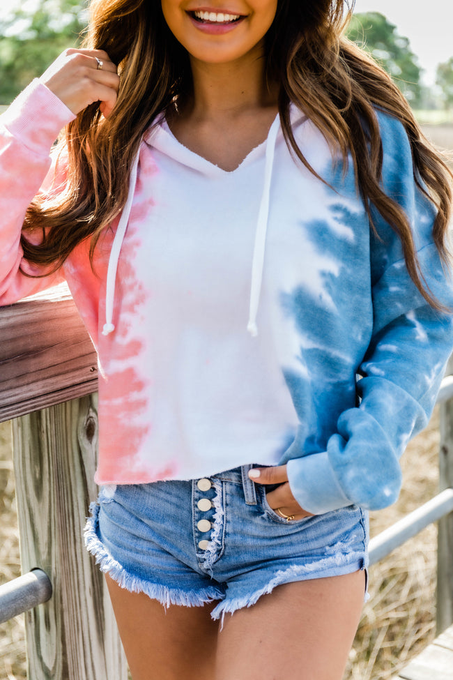 Eternity Of Happiness Tie Dye  Pullover Coral/Blue